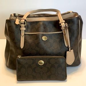 COACH Signature Double Zip Handbag & Wallet